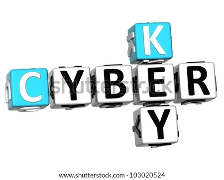 3D Cyber Key Crossword on white background - stock photo
