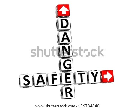 3D Danger Safety Crossword on white background - stock photo
