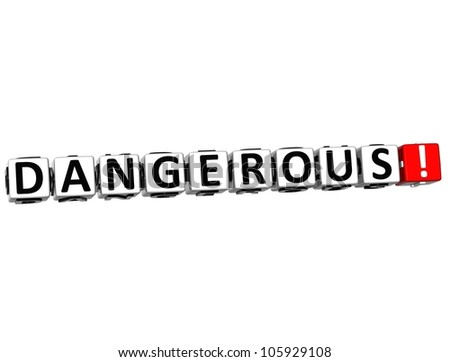 3D Dangerous Button Click Here Block Text over white background - stock photo