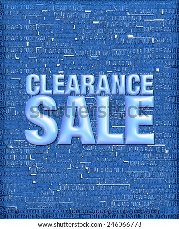 3D dark blue background of Clearance Sale with emboss glossy blue text on background   - stock photo