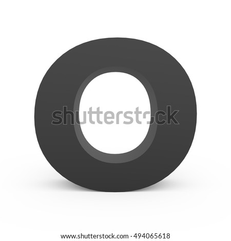 3d dark grey alphabet O, 3D rendering graphic isolated white background
