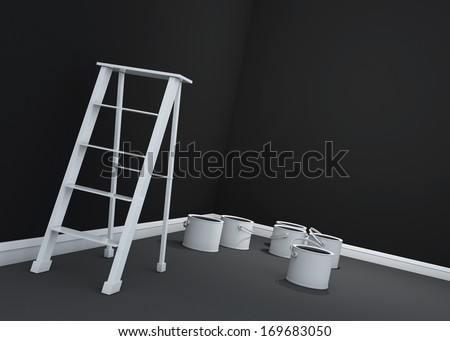 3d dark wall painting, ladder, paint cans  - stock photo