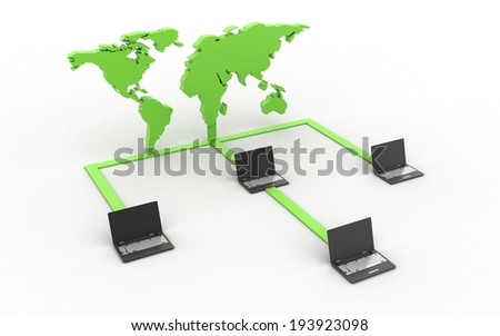 3d Data transfering concept isolated on white background - stock photo
