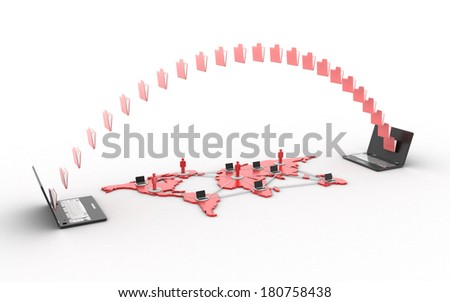 3d Data transfering concept isolated white background - stock photo