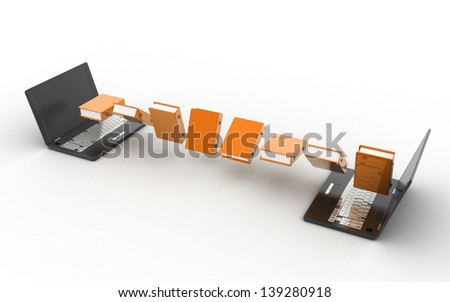 3d Data transfering  isolated on white background - stock photo
