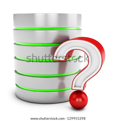 3d database server with red question mark isolated on white background - stock photo