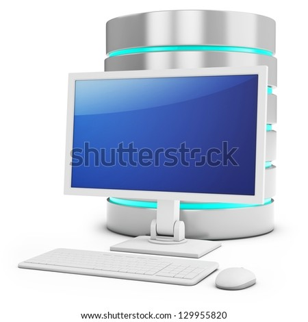 3d database with access terminal on white background - stock photo