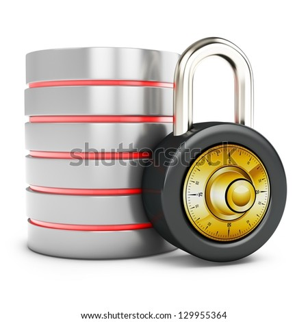 3d database with padlock security concept on white background - stock photo