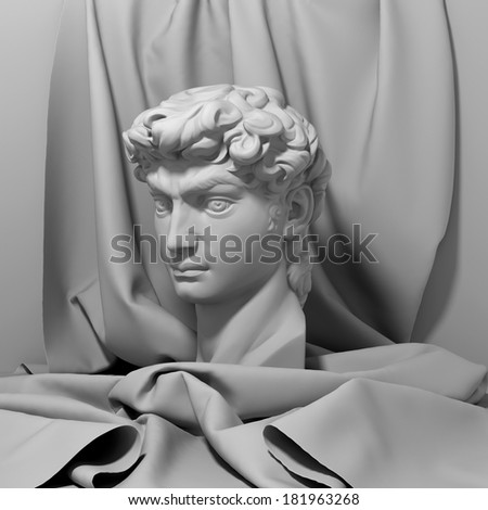 3d David portrait, head still life with drapery, classical antique sculpture object  - stock photo