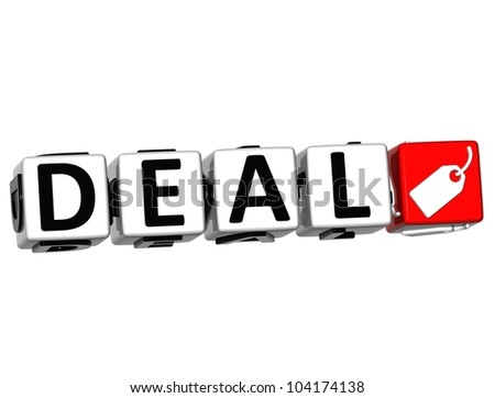 3D Deal Button Click Here Block Text over white background - stock photo