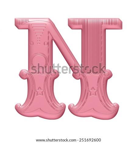 3D Decorative Alphabet later N  - stock photo