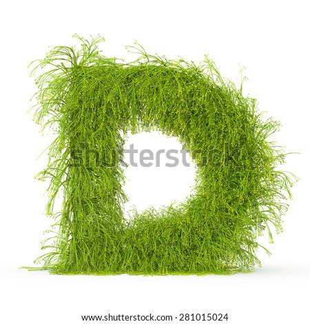 3d decorative nature letter D - stock photo