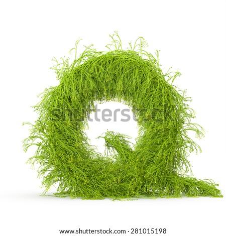 3d decorative nature letter Q - stock photo