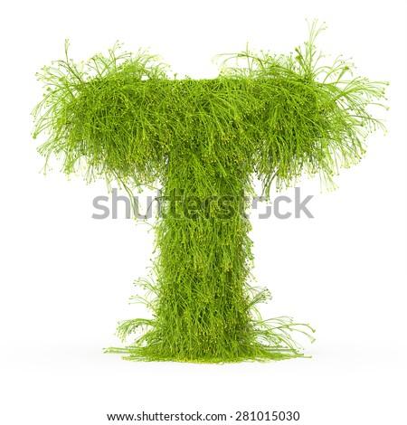 3d decorative nature letter T - stock photo