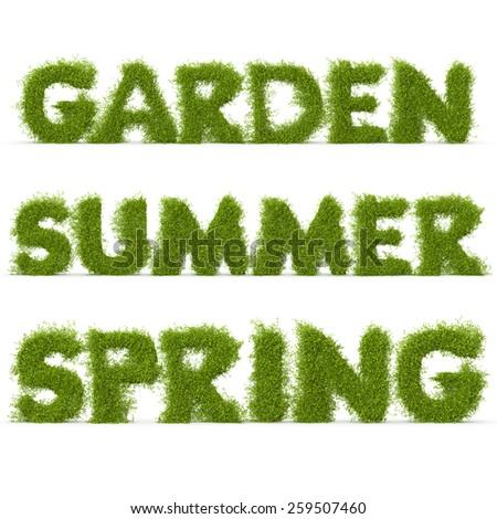 "3d decorative nature ""summer"", ""spring"", ""garden"" inscriptions - stock photo"
