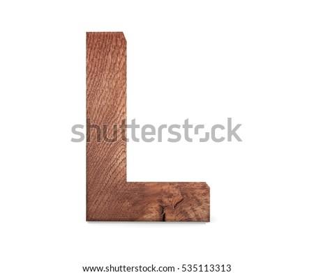3d decorative wooden alphabet capital letter l