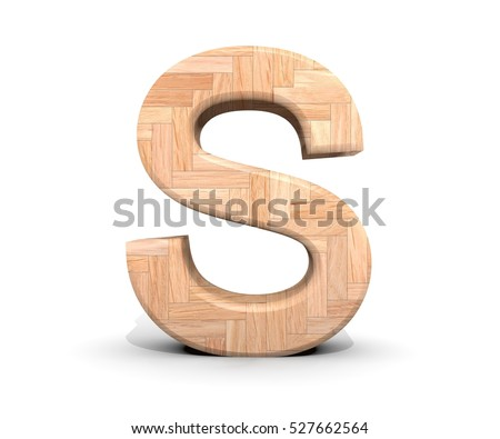 3D decorative wooden Alphabet, capital letter S