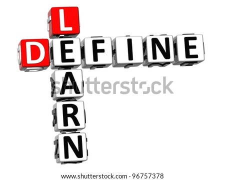 3D Define Learn Crossword cube words on white background - stock photo