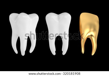 3D dental crown isolated black - stock photo