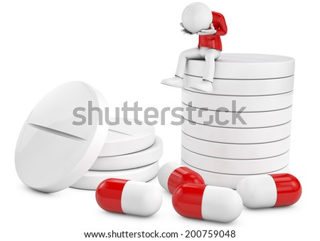 3D depressed man taking pills and tablets. - stock photo