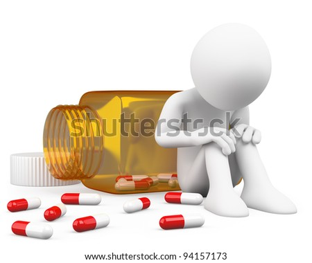 3D depressed man taking pills. Rendered at high resolution on a white background with diffuse shadows. - stock photo