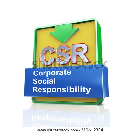3d design illustration presentation of arrow banner of csr - corporate social responsibility - stock photo