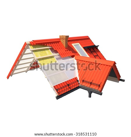 3d design of roofs - stock photo