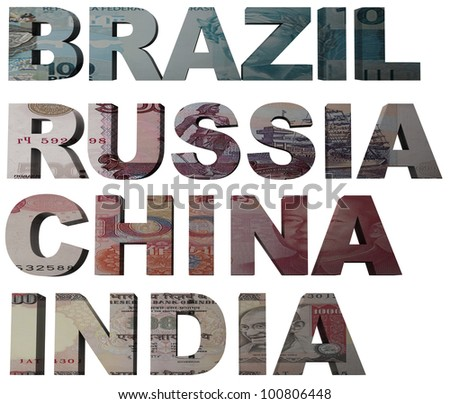 3d design rendered formed by the BRIC countries Brazil, Russia, India and China - stock photo