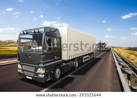3D design semi trailer delivery trucks on highway with beautiful landscape
