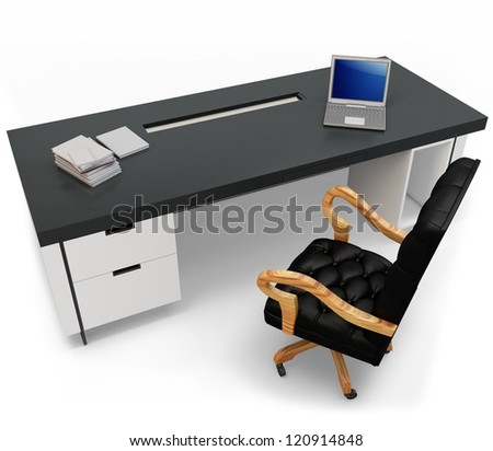 3d desk with laptop and executive chair on white background - stock photo
