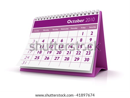 3D desktop calendar October 2010 in white background