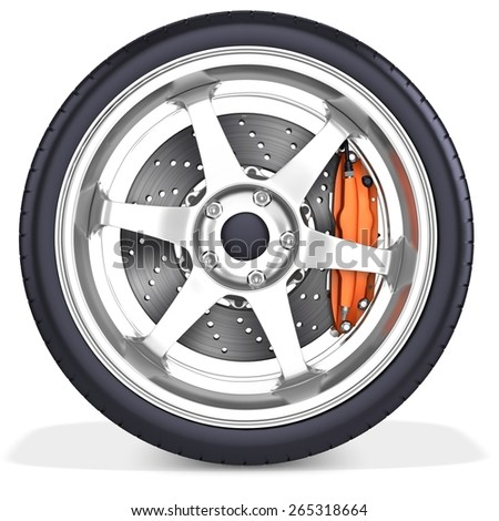 3d detailed car wheel with rim on white background - stock photo