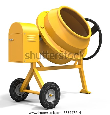 3d detailed cement mixer isolated on white background - stock photo