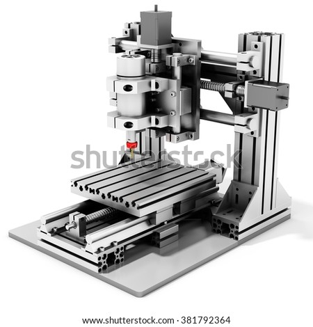 3d detailed cutter CNC router metallic on white background - stock photo
