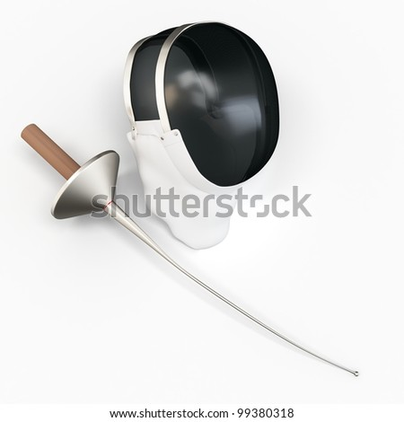 3d detailed fencer mask and sword on white background