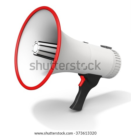 3d detailed megaphone on white background - stock photo