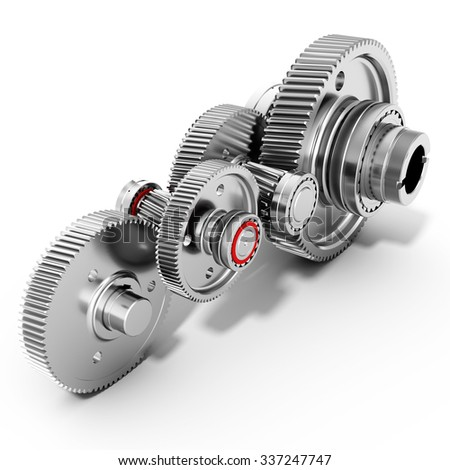 3d detailed metallic gears on white background