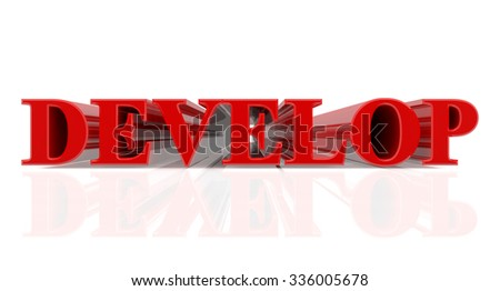3D DEVELOP word on white background 3d rendering - stock photo