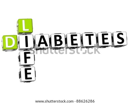 3D Diabetes Life Crossword on white background - stock photo