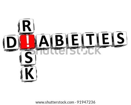 3D Diabetes Risk Crossword on white background - stock photo