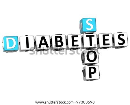 3D Diabetes Stop Crossword on white background - stock photo