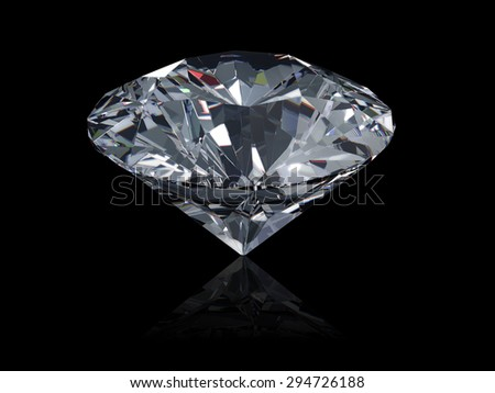3D diamond isolated on black background.