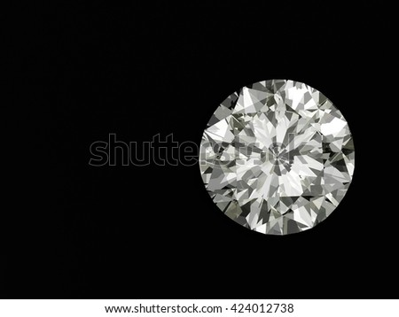3D Diamond isolated on black background with space. 3d illustration