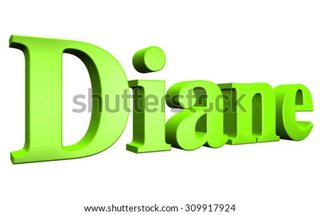 3D Diane text on white background