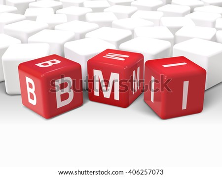 3d dice with word BMI Body Mass Index on white background