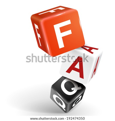 3d dice with word FAQ frequently asked questions on white background - stock photo