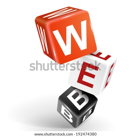 3d dice with word WEB on white background - stock photo