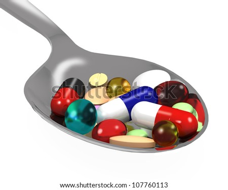 3d different tablets and pills on spoon on white background