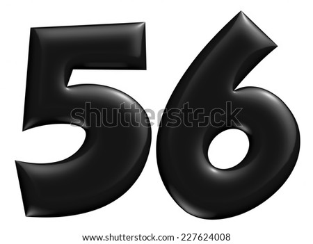 3D 5 & 6 digit later in black on isolated white background. - stock photo