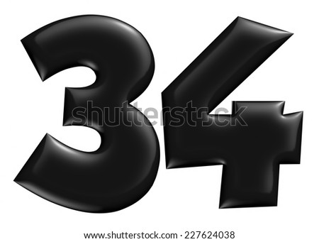 3D 3 & 4 digit later in black on isolated white background. - stock photo